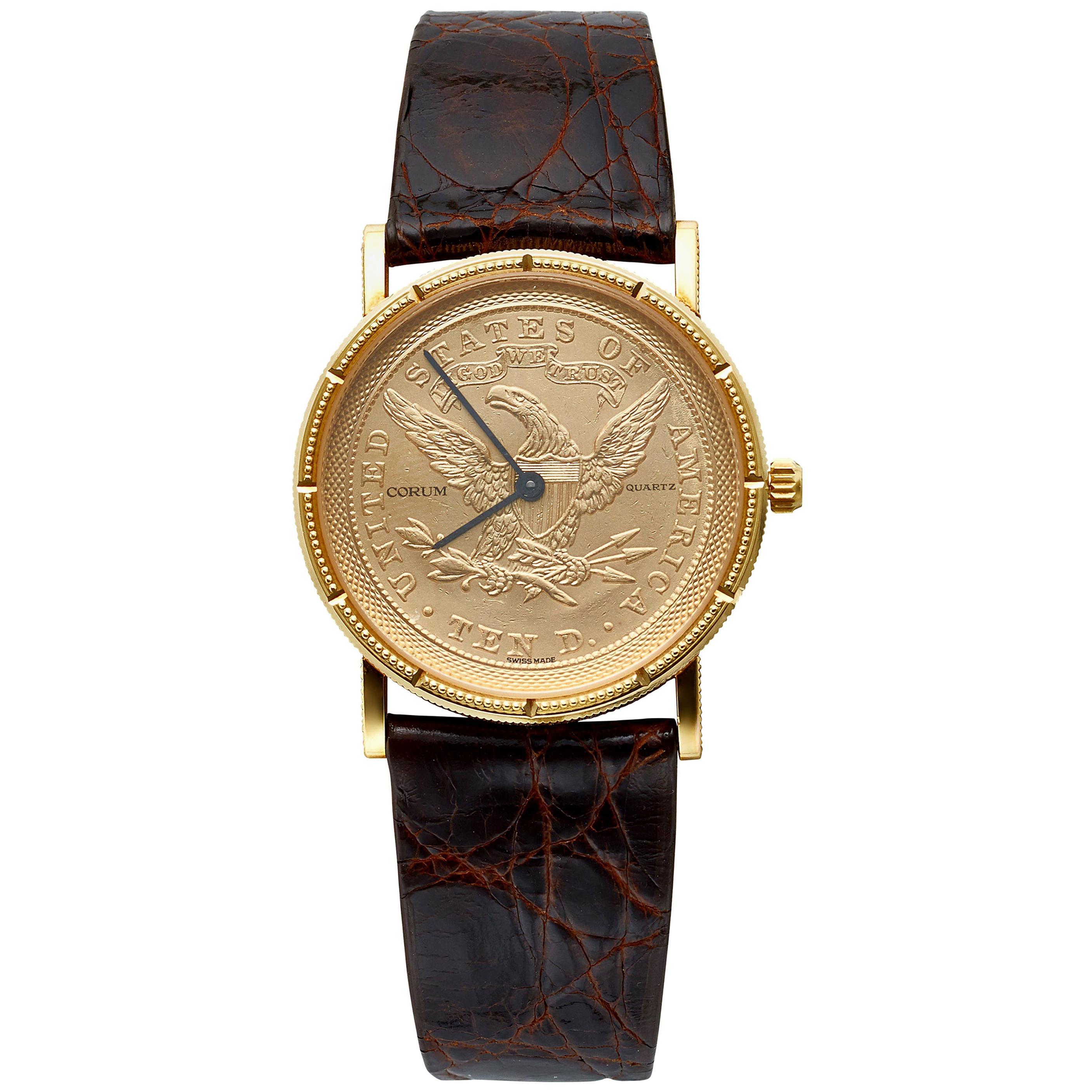 Corum 18 Karat Yellow Gold 10 Dollar 1865 Coin Watch