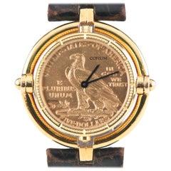 Corum 18 Karat Yellow Gold $5 Half Eagle Quartz Coin Watch with Rotating Bezel