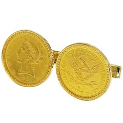 Corum 18 Karat Yellow Gold White Gold Coin US 5$ Liberty Cufflinks