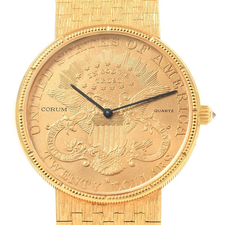 3fe452614247 Corum 20 Dollars Double Eagle Yellow Gold Coin Year 1904 Men s Watch For  Sale 8