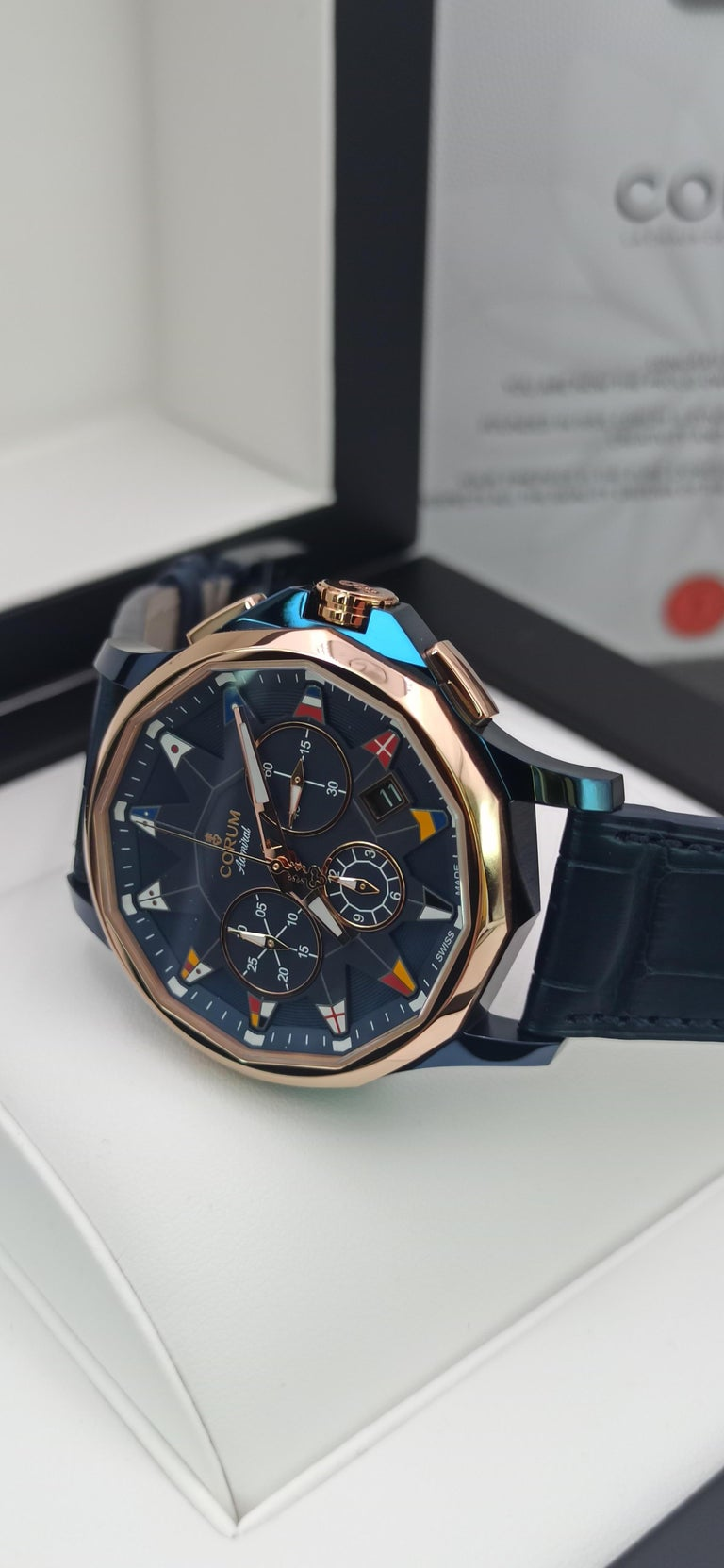 Modern Corum Admiral Cup, Chronograph, 18kt Rose Gold and PVD Steel Case For Sale