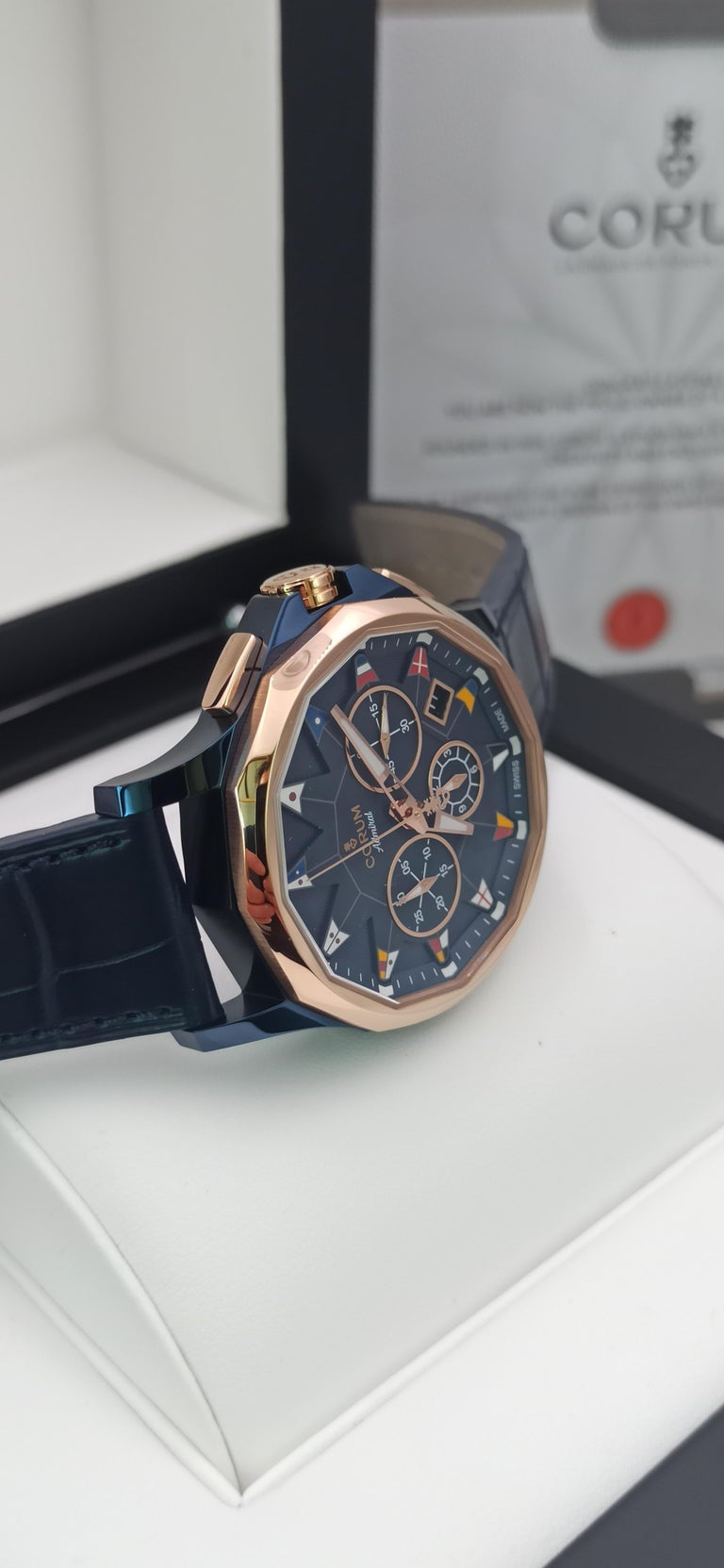 Corum Admiral Cup, Chronograph, 18kt Rose Gold and PVD Steel Case In New Condition For Sale In Mestre Venezia, IT