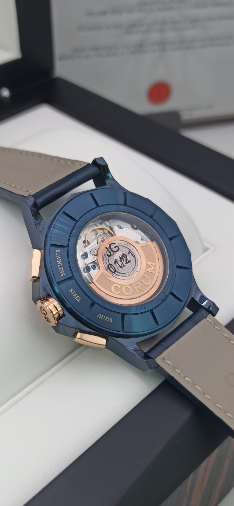 Corum Admiral Cup, Chronograph, 18kt Rose Gold and PVD Steel Case For Sale 1
