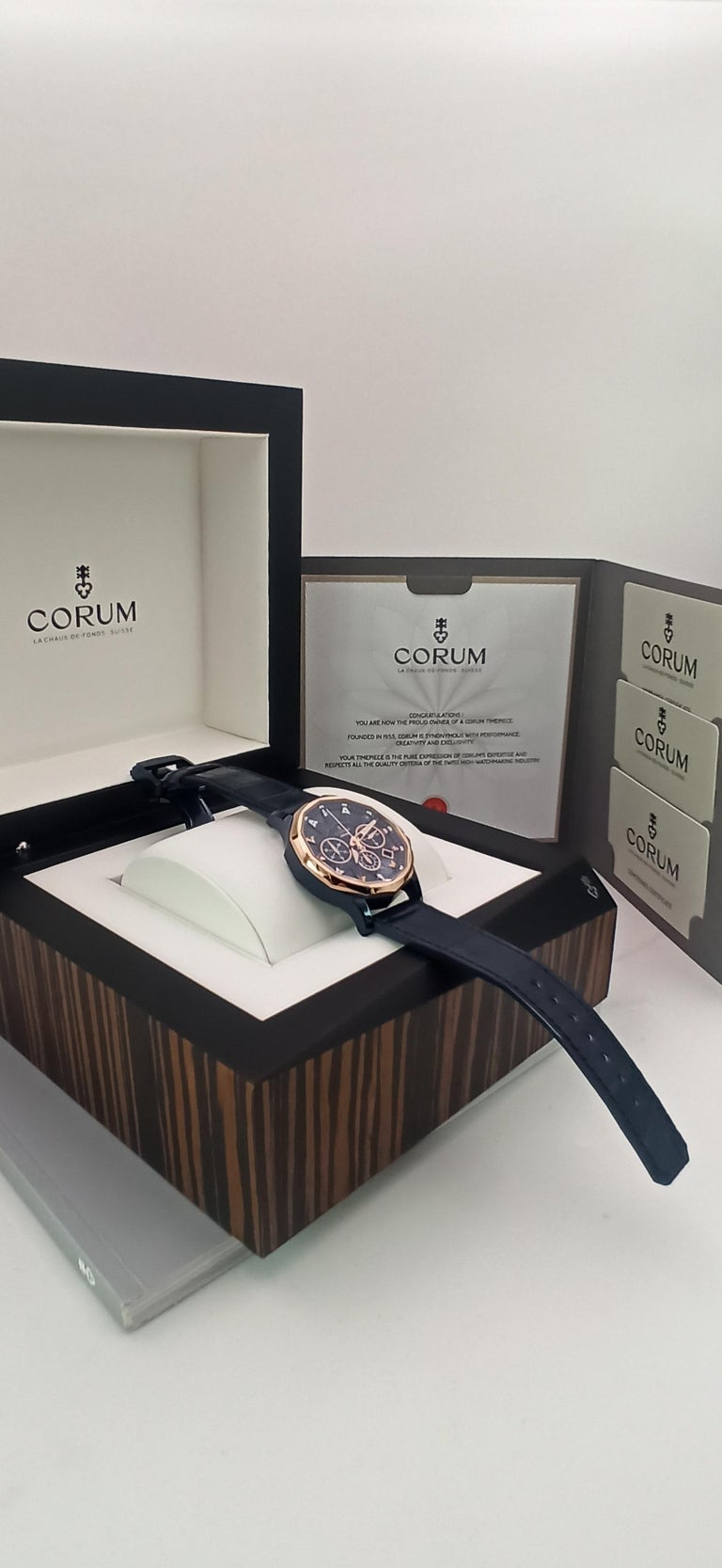 Corum Admiral Cup, Chronograph, 18kt Rose Gold and PVD Steel Case For Sale 2