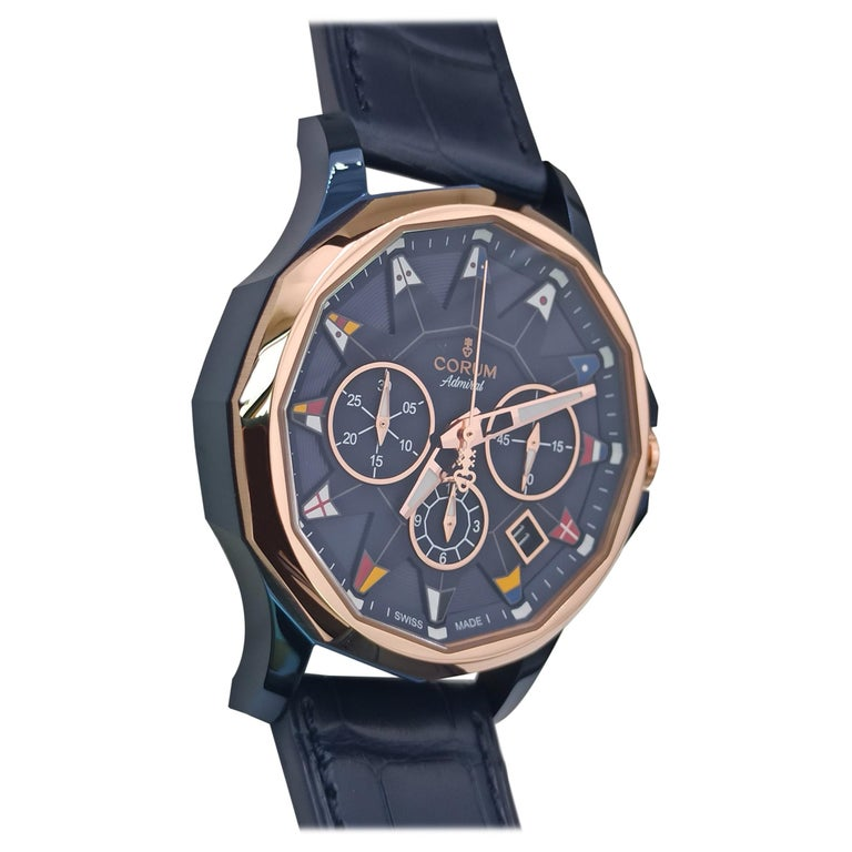 Corum Admiral Cup, Chronograph, 18kt Rose Gold and PVD Steel Case For Sale