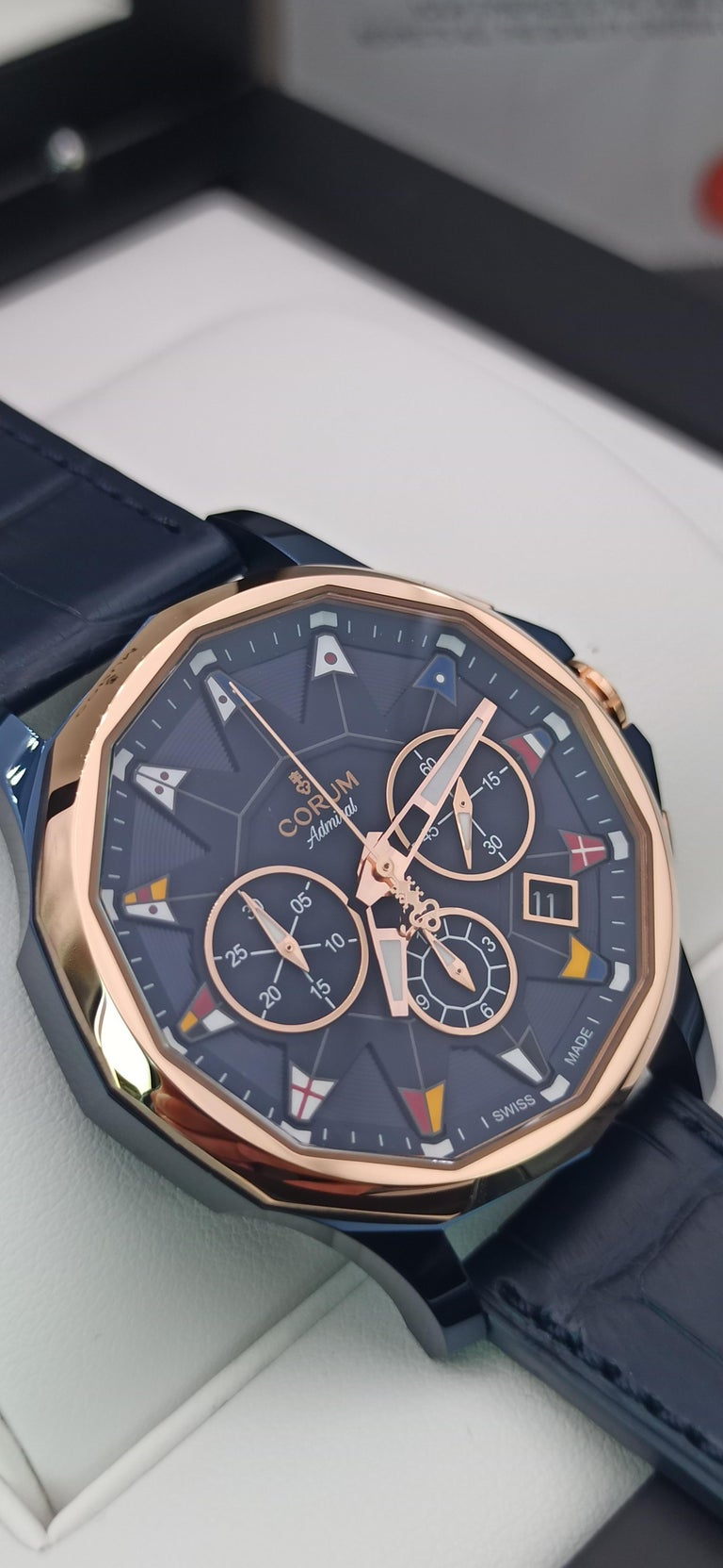 Corum Admiral Cup, Chronograph,   18kt rose gold and PVD Steel case,  42 mm diameter, Automatic Chronograph,   Very nice CORUM watch made in  limited production