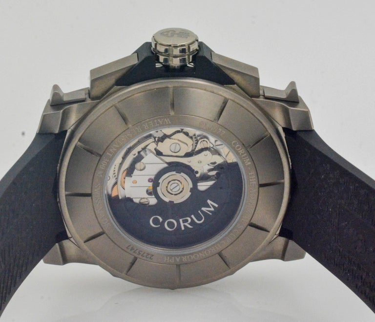 Corum Admirals Cup Chronograph Stainless Steel Black Rubber Watch For Sale 7