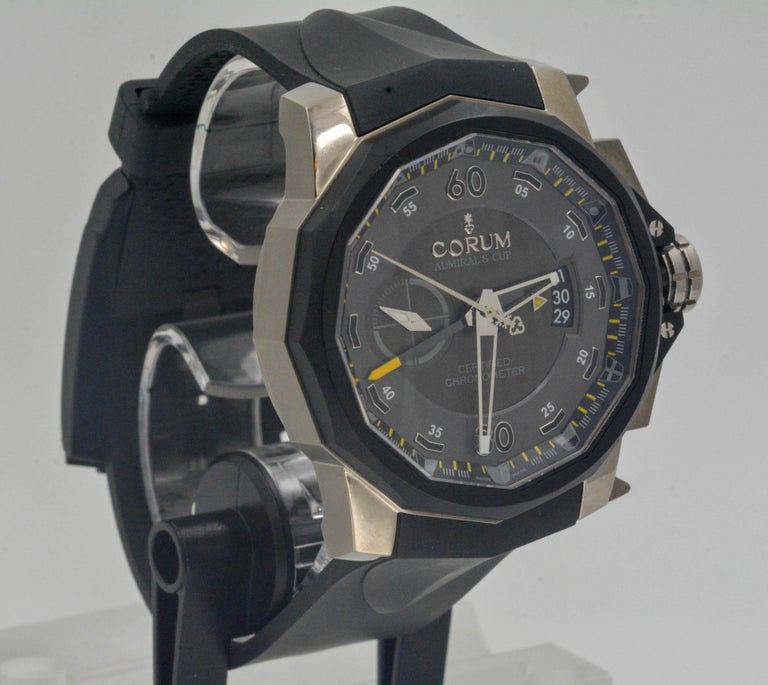 Modern Corum Admirals Cup Chronograph Stainless Steel Black Rubber Watch For Sale