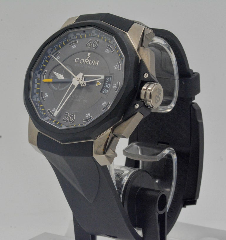 Corum Admirals Cup Chronograph Stainless Steel Black Rubber Watch In Excellent Condition For Sale In Dallas, TX