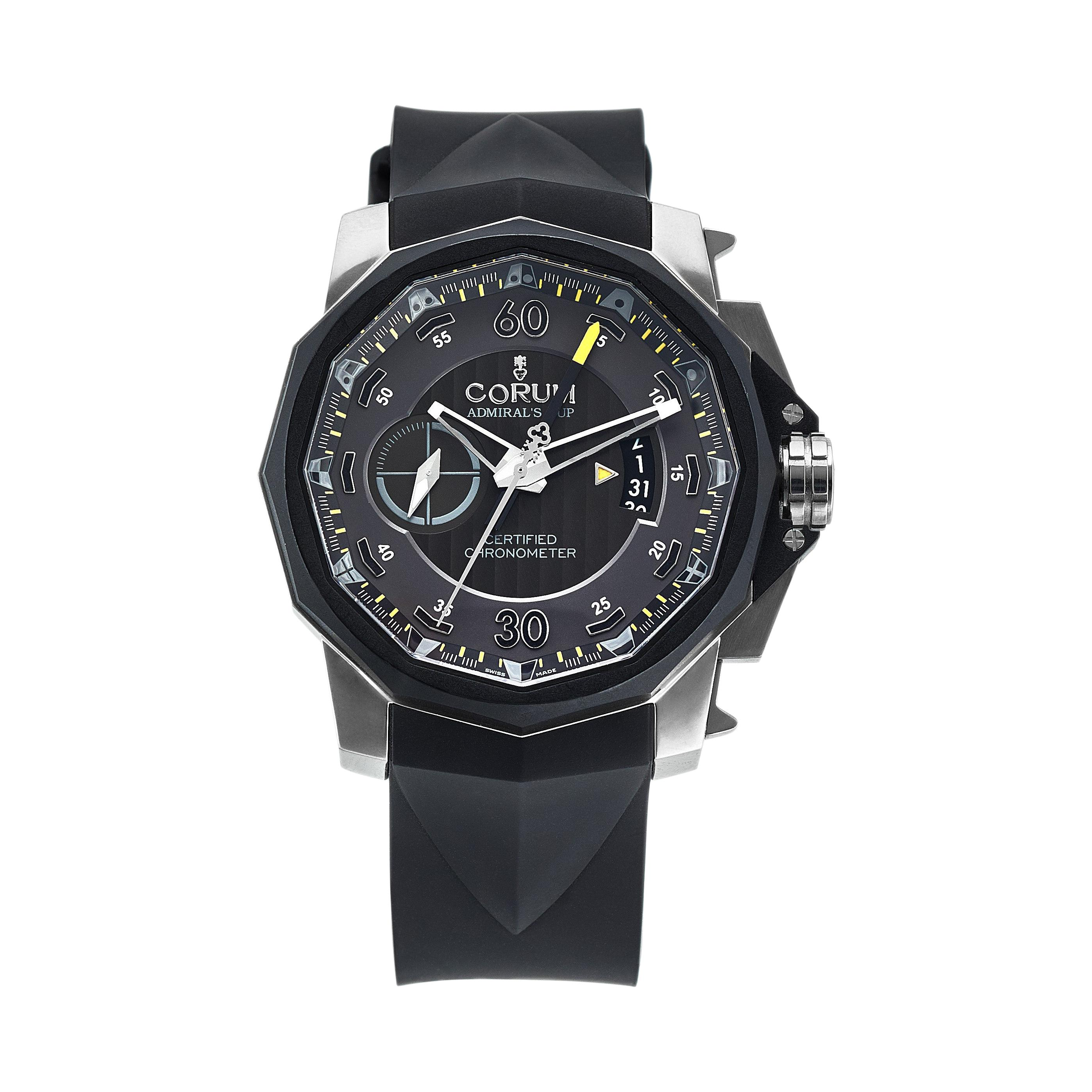 Corum Admirals Cup Chronograph Stainless Steel Black Rubber Watch