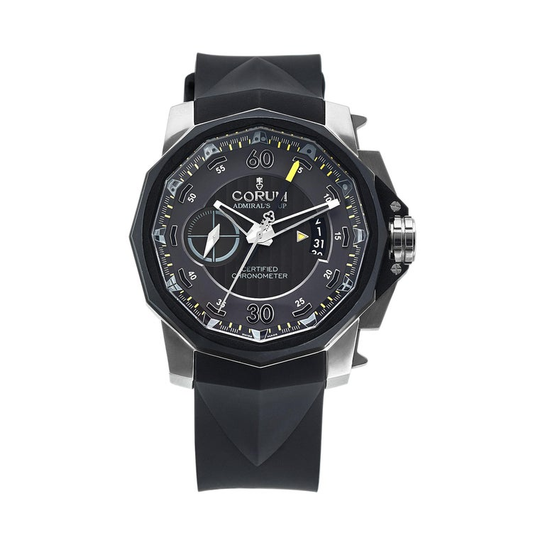 Corum Admirals Cup Chronograph Stainless Steel Black Rubber Watch For Sale