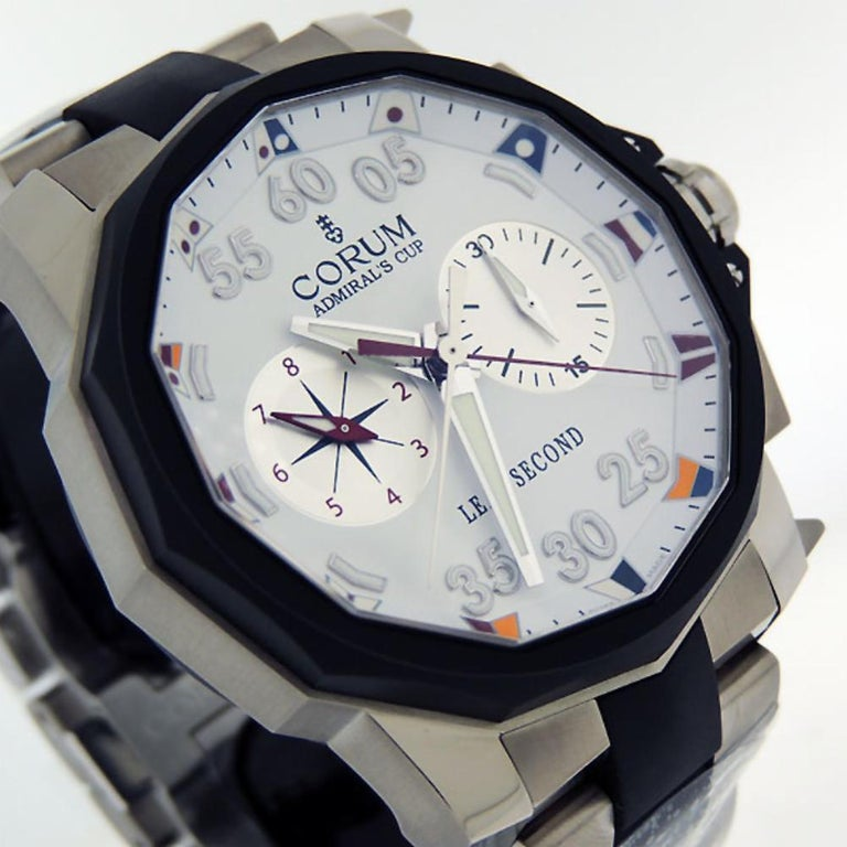 Corum Admiral's Cup Leap Second 48 Rattrapante Titanium 895.931.06/ V791.AA90 In New Condition In Miami, FL