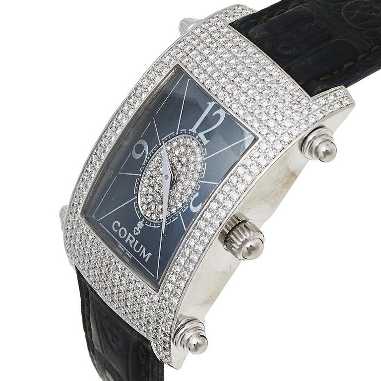 Contemporary Corum Black 18K White Gold Diamond Pave Moonlight Women's Wristwatch 25 For Sale