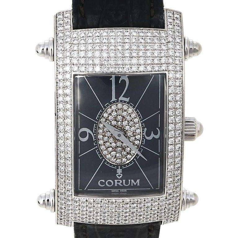 Corum Black 18K White Gold Diamond Pave Moonlight Women's Wristwatch 25 For Sale 4