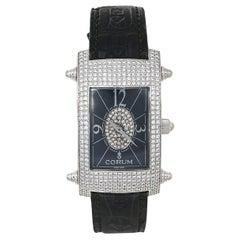 Corum Black 18K White Gold Diamond Pave Moonlight Women's Wristwatch 25