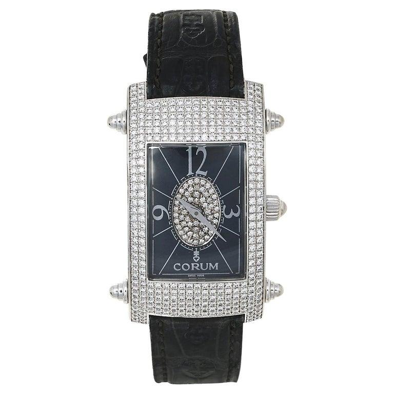 Corum Black 18K White Gold Diamond Pave Moonlight Women's Wristwatch 25 For Sale