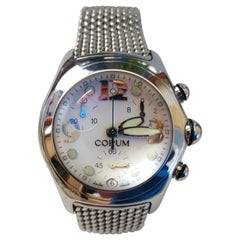 Corum Boutique Chronograph Bubble Stainless Steel Watch White Face