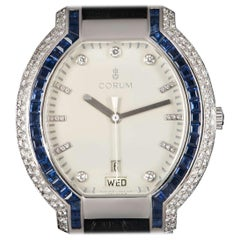 Corum Diamond and Sapphire Set Dress Watch 18 Karat White Gold White Dial