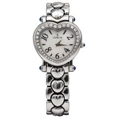 Corum Diamond Heart Watch Mother of Pearl Dial Stainless Steel Factory Diamonds