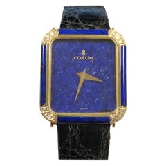 Corum Gold Diamond and Lapis Cased and Lapis Dial Mechanical Wristwatch