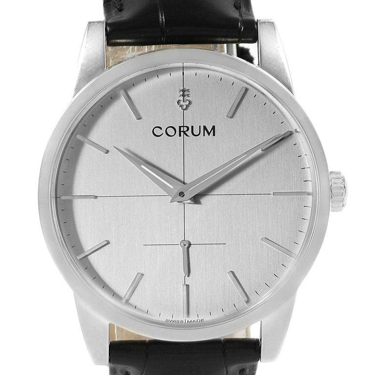 Corum Heritage Silver Dial Steel Men's Watch V157/02614 In Excellent Condition For Sale In Atlanta, GA
