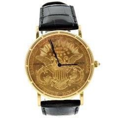 Corum yellow gold Heritage Coin American Double Eagle quartz Wristwatch Ref C293