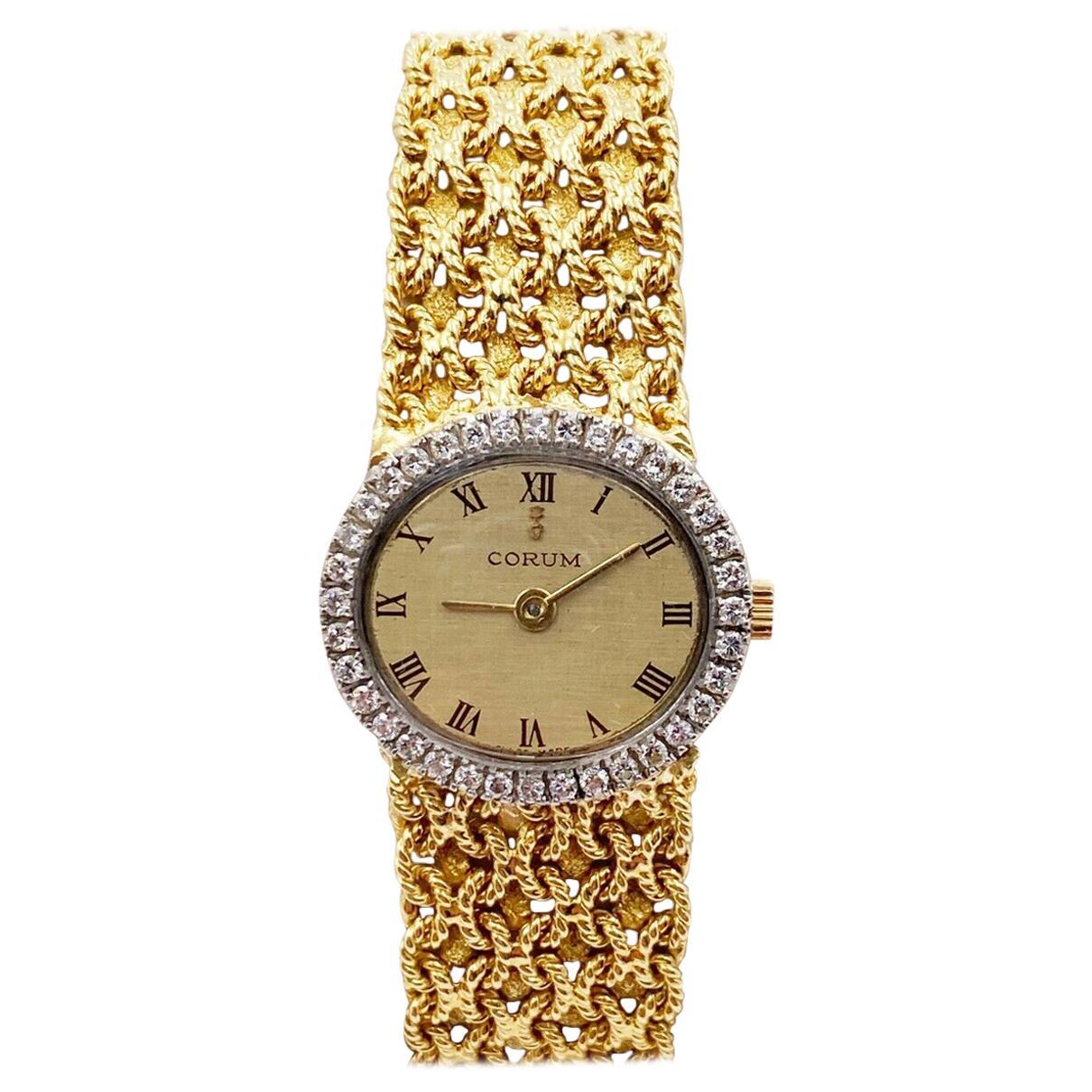 Corum Ladies Diamond Bezel 18 Karat Yellow and White Gold Watch