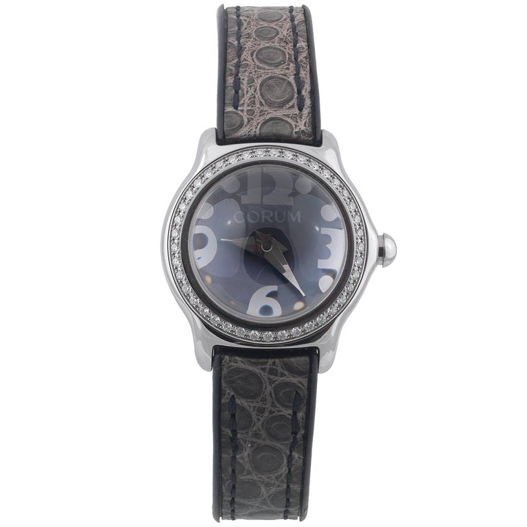 Corum Ladies Stainless Steel Diamond Bubble Quartz Wristwatch