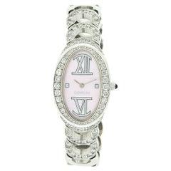 Corum Ovale 18k White Gold Pink MoP Dial Quartz Wrist Watch 137.410.69