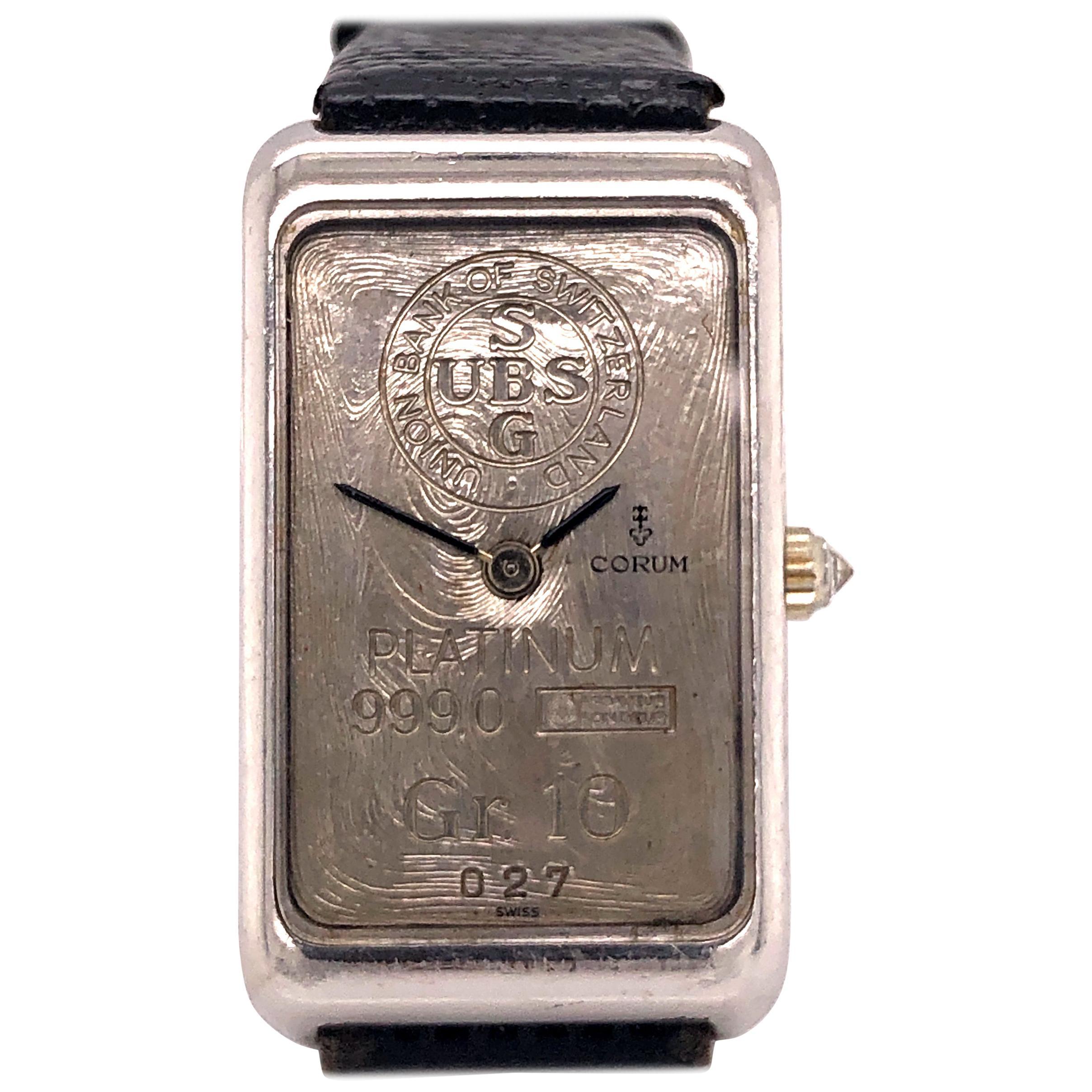 Corum Platinum and Diamond Watch 10 Gram UBS Ingot Bar Rare