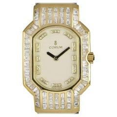 Corum Rue De La Paix Ladies 18 Karat Gold White Dial Diamond Set 185.751.56