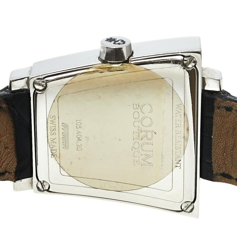 Contemporary Corum Silver Stainless Steel Leather Trapeze 105.404.20 Women's Wristwatch 29 mm