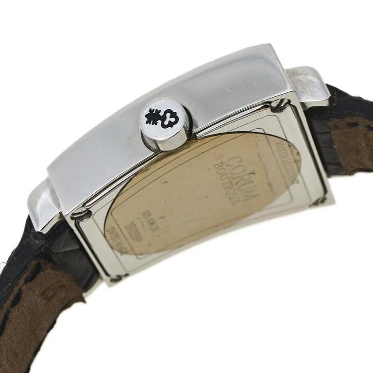 Corum Silver Stainless Steel Leather Trapeze 105.404.20 Women's Wristwatch 29 mm In Good Condition In Dubai, Al Qouz 2