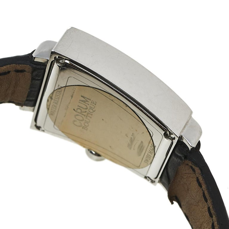 Corum Silver Stainless Steel Leather Trapeze 105.404.20 Women's Wristwatch 29 mm 1
