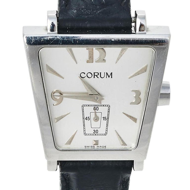 Corum Silver Stainless Steel Leather Trapeze 105.404.20 Women's Wristwatch 29 mm 2