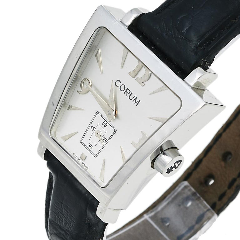 Corum Silver Stainless Steel Leather Trapeze 105.404.20 Women's Wristwatch 29 mm 3