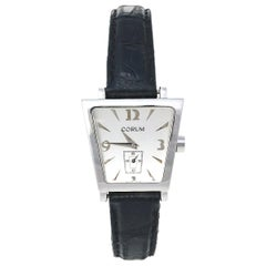 Corum Silver Stainless Steel Leather Trapeze 105.404.20 Women's Wristwatch 29 mm