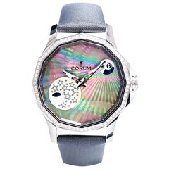 Corum Stainless Steel Diamond Bezel Mystery Moon Wristwatch