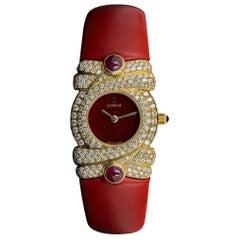 Corum Unworn Diamond Set Dress Watch Ladies NOS 18 Karat Yellow Gold Red Dial