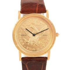 Corum Yellow Gold 10 Dollars Coin Diamond Ladies Watch Year 1882