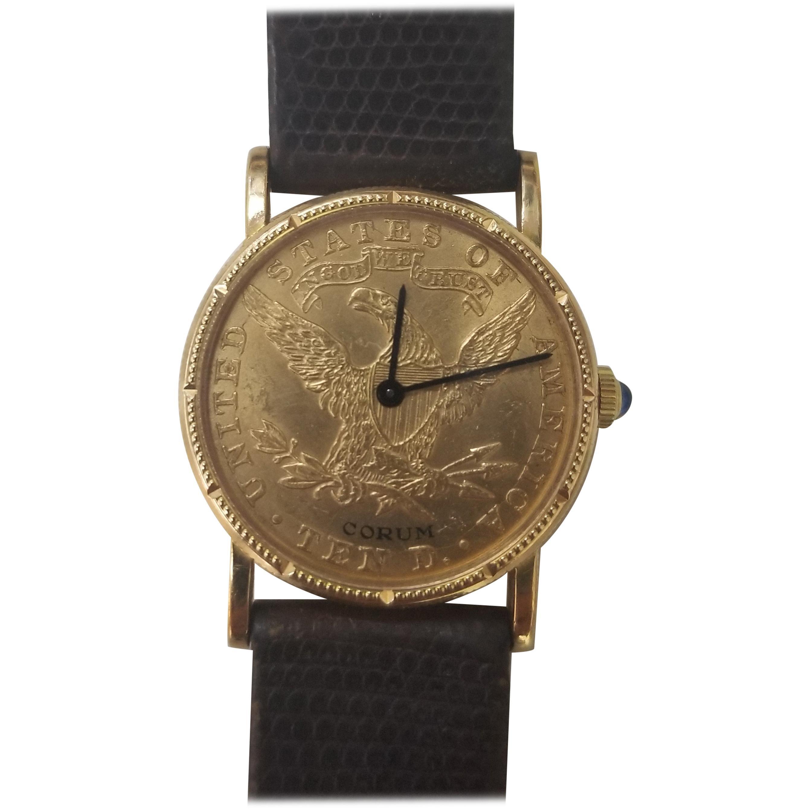 Corum Yellow Gold 10 Dollars Coin Diamond Ladies Watch Year 1902