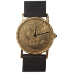 Corum Yellow Gold 10 Dollars Coin Diamond Ladies Watch Year 1902