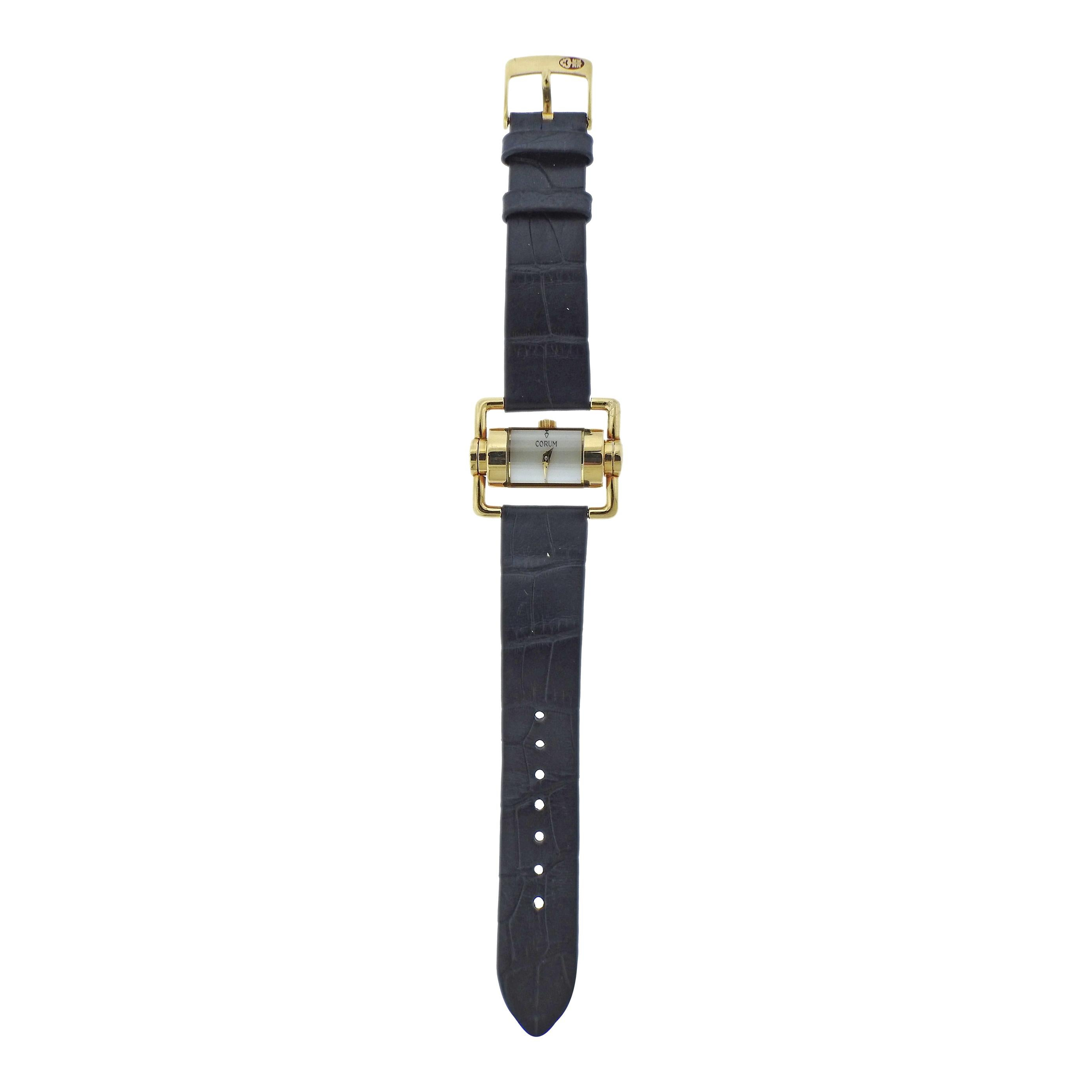 Corum Yellow Gold Mother of Pearl Driver's Lady's Watch
