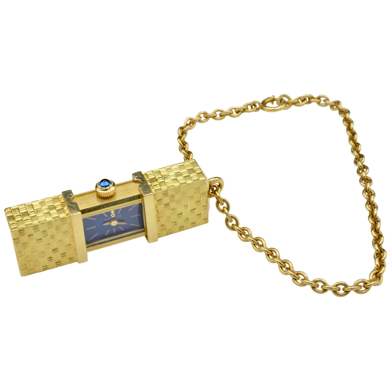 Corum Watch Secret Opening yellow gold Sapphire Charm Bracelet 1970