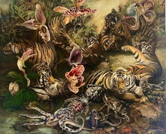 Tigers - 21st Century, Contemporary, Figurative Painting, Oil, Canvas, Animals
