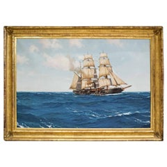 Corvette Dupleix in Open Ocean, Signed Montague Dawson l/l Oil on Canvas