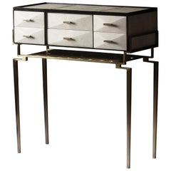 Cosima 7 Console / Storage Unit in Cream Shagreen and Brass by R&Y Augousti