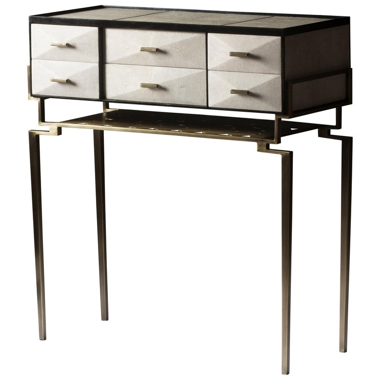 Cosima 7 Console / Storage Unit in Cream Shagreen and Brass by R&Y Augousti For Sale