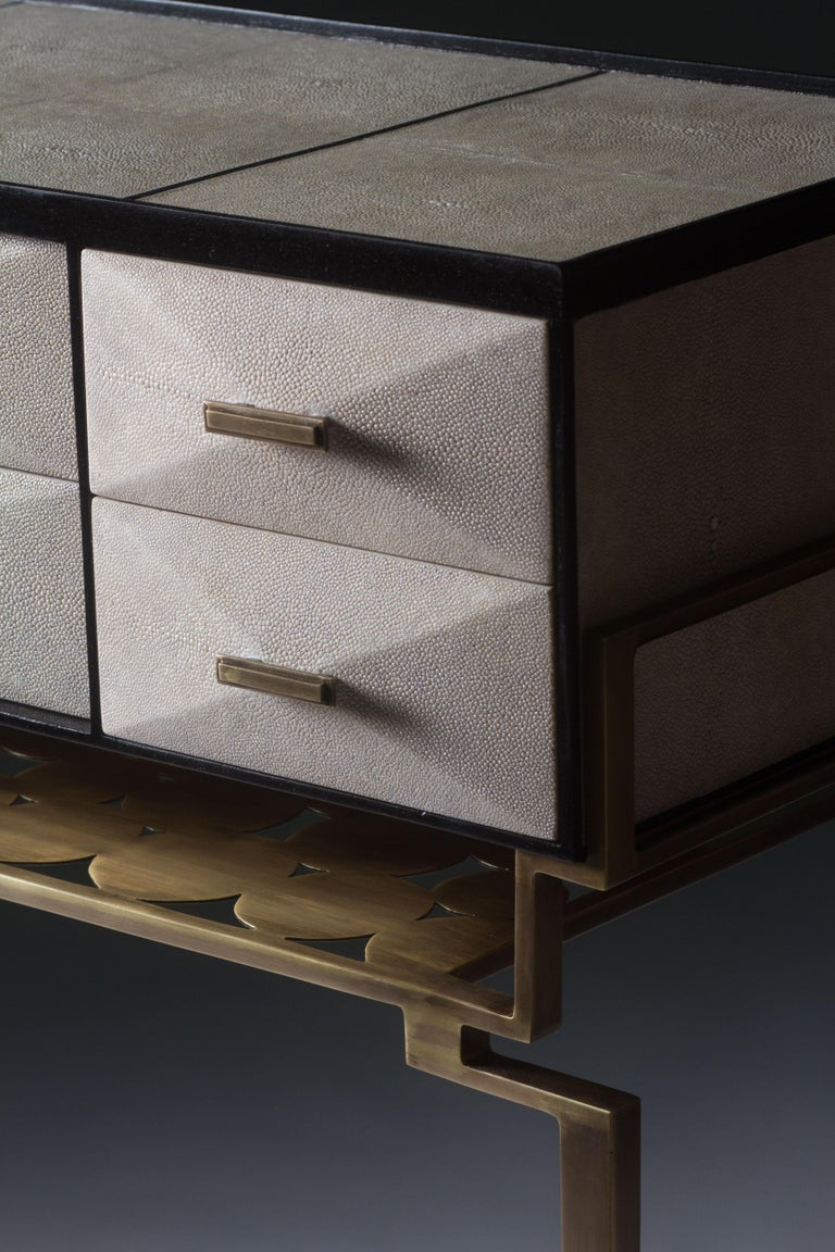 French Cosima 7 Console / Storage Unit in Cream Shagreen and Brass by R&Y Augousti For Sale