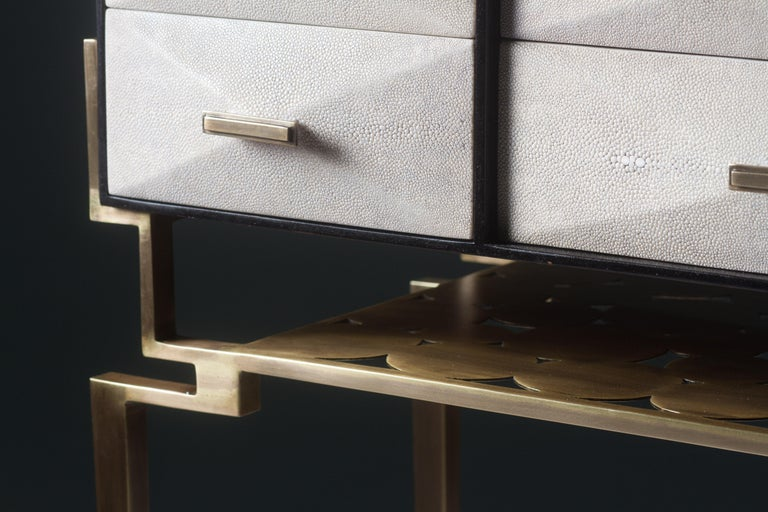 Hand-Crafted Cosima 7 Console / Storage Unit in Cream Shagreen and Brass by R&Y Augousti For Sale